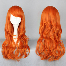 One Piece after two years Nami Wig Long Curly Orange Synthetic Women Girls Wig 60cm(China (Mainland))
