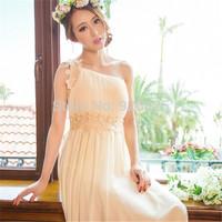 New 2014 Hot Europe Women Chiffon Dress Sweet Temperament OL Bridesmaid Wedding Party Inclined Shoulder Natural Color Slim Dress