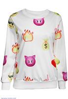 Women Round Neck Emoji Digital Print Black Sweatshirt  LC25346