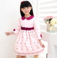 2015 Baby Girls Floral Sashes Turn-over Collar Long Sleeve Flower Dress, Princess Elegant Clothing , 6 Pcs/lot, Free Shipping