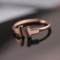 New Style! Fashionable 18K rose Gold Plated High End Titanium steel Customize Simple T letter Ring, Girlfriend Gift