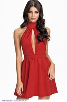 Sexy Backless High Neck Red Skater Dress LC21881
