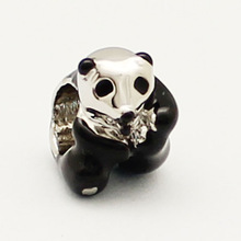 Black and white giant panda silver beads fit Pandora bracelet Valentine Epoxy Christmas Mother's Day gift free shipping