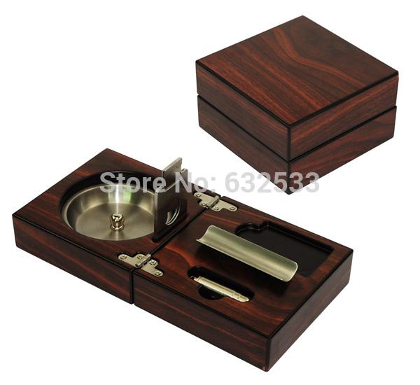 Slap up Collapsible High Gloss Finish Walnut Color Wooden Cigar Ashtray(China (Mainland))