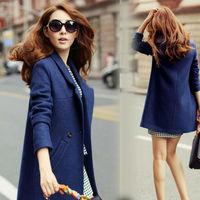 Winter Coat  2015 Blue Cashmere Wool Trench Women Outerwear Slim Waist Desigual Plus Size Winter Long Woolen Coat Femininos nz19