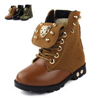 2014 new fashion Leopard head rivet Kids Children's winter boots leather cotton-padded shoes Boys and Girls Martin boots 833