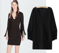 New 2015 Chic Womens Sexy Tassel Long Sleeve Black Fitted Slim Bodycon Dress High Quality Party Casual Dress