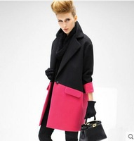 Winter fashion big hit color stitching long section of the female silhouette coat thick woolen coat