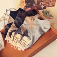 Men's cotton socks diamond lattice of autumn and winter sports socks cotton