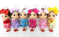 Ddung pendant doll 12pcs 12cm big bowknot scarf dress bouquet girl bag key chain wedding candies gift children prize wholesale