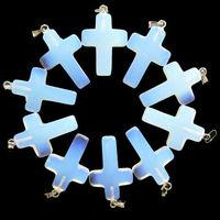 100pcs Lots Crosses Light Blue transparent Stone Charm pendant Necklace jewlery making