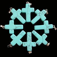 Vintage Style Turquoise  100pcs Stone Charm Crosses Shape Pendant Stone Necklace Bracelet Jewlery making Free shipping