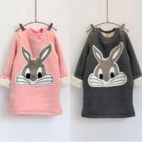 2015 The new girl rabbits cartoon long-sleeved fleece sweater dress the rabbits Sweatshirts