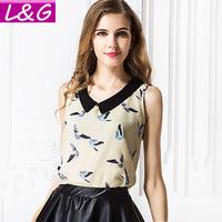 L&G Fashion 2014 Women Blouses Casual Birds Print Chiffon Blouse Tropical Blusas Femininas Shirts Tops Cheap Clothes China 40116