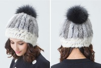 natural rex rabbit fur cap lady fashion beanie cute winter hat casual sports style 11 color  free shipping