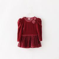 Girls Casual Autumn Dress Fashion Flower Patchwork Style Kids Full Sleeve Princess Voile Flower Children Clothing 6pcs /LOT