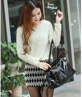 Free shipping female Las mujeres 2014 Autumn Winter mohair patchwork vestido knitted tejido slim bodycon La XiuShen dress
