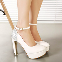 Princess high-heeled shoes platform sexy paillette white wedding shoes thick heel single shoes strap