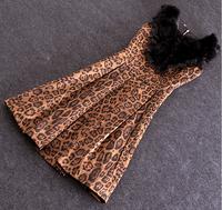 Women Spring Summer New Dress 2015 Vinatge Elegant Office Lady Natural Rabbit Fur Patchwork Leopard Print Dresses Pencil  Dress