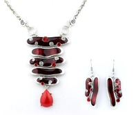 Top Quality red Enamel  Fashion jewelry set Women's Party gift Chain Necklace and earrings set Gifts A044