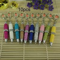 2015 Hot sale Free shipping (10pcs a lot ) Fashion Glitter Colorful Mini Ballpoint Pen
