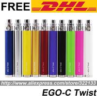 Ego-C Twist Electronic Cigarette Battery Adjustable Variable Volatage 3.2V-4.8V For Ego E Cigarettes Kits 650 900 1100 1300 mah