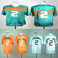College Miami Hurricanes #2 blank white/ green/ orange ncaa football jerseys mix order free shipping