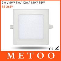 High Quality Square Led Panel Light AC85-265V SMD2835 3W/6W/9W/12W/15W/18W Led Ceiling Lights White/Warm White Downlight CE&ROHS