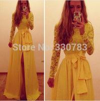 Latest dress designs women High quality Yellow Long sleeve chiffon lace long dress fashion ladies dresses vestido longo