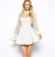 White shirt collar waist big gauze strapless backless party dress