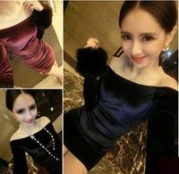 sexy black club dress strapless vestidos curtos new plus size vestido vermelho Slash neck package hip Gold velvet dresses