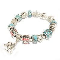 3 Colors Fashion 925 Sterling Silver Field of Daisies Murano Glass & Crystal European Noble Elephant Charm Bracelets SL1116