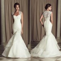 Lace Appliques Organza Mermaid Wedding Gowns Pleated Tiered White 2015 Wedding Dresses Vestidos De Noiva Sereia HS056