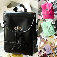 New Candy Color Backpack Handbags Leather Fashion Shoulder Bag Casual Satchel Schoolbag Women Messenger Bag