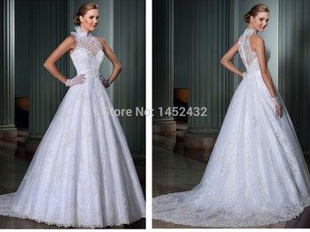 Свадебные платья novia 2015 A-Line высокая шея свадебное платье смотрите через назад сексуальные vestido де casamento 2015 невесты платье свадебные платья