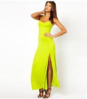 Women new sexy halter straps solid split waist dress