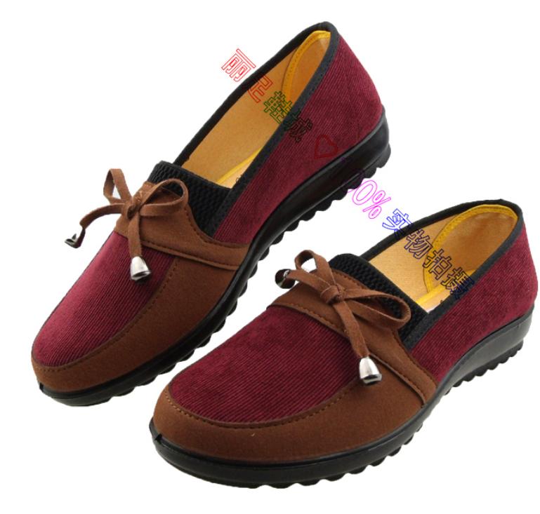 Grátis frete a temporada nova era 2014 suave de fundo anti-derrapante lazer feminino idosos sapatos de pano(China (Mainland))