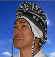 100% Wool Knit Black/Grey Woolen Mohawk Snow Hat Warm Earmuff Cap Handmade