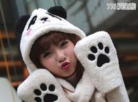 1 piece Fashion Hot Sale Lovely panda design Cartoon Animal Hat Warm Animal Cap Hat with Scarf Gloves