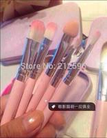 Sweet Pink  Cosmetic Brush Set (1set= 7pcs,7pcs in 1 Box) Makeup Brushes Set Wooden Makeup tool