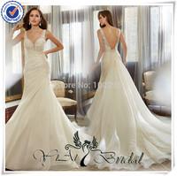WDQ143 Special Dresign Bare Back Organza Pleat Mermaid Wedding Dresses With Detachable Train
