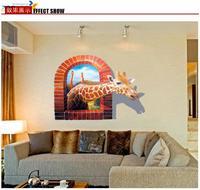 giraffe wall stickers for kids room zooyoo8007 pvc cartoon wall art diy animal wall decals bedroom home decorations 70*100
