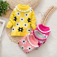 Children flowers hedging sweater Girls high collar to keep warm Cotton sweater