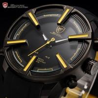 Dogfish Shark Calendar Day LED Display Alarm Setting Black Yellow Silicone Band Digital Mens Quartz Sport Relogio Watch / SH385