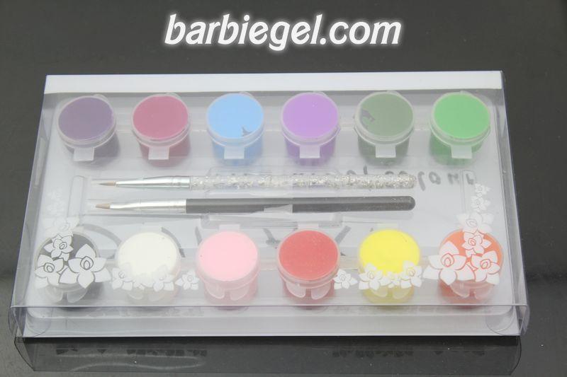 1set 12 Color 3D Nail Art Paints For Nail Tip Painting + 2 Nail Painting Pen Brush Set free shipping(China (Mainland))