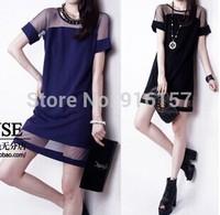 2015 Brand Fashion Women New summer Round Neck Dress sexy gauze patchwork chiffon short-sleeve slim straight one-piece dress