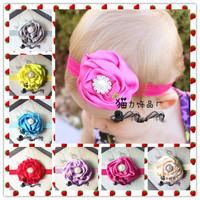 Hot Fashion chic Satin Flower Headwear headband for baby girls Pearl hair decoration Hair Band, flower Baby headband Hairband