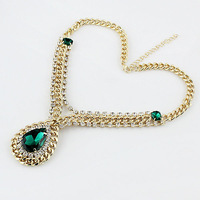 Joias Big Imitation Gemstone Jewelry Gold Necklace for Women 2014 Fashion Jewelry for Women statement necklace accessories