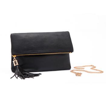 2015 известный бренд дизайнер черный кожа сумки на ремне простой складной крышка цепи женщин сумки кисточкой сумка почтальона сумочки горячая распродажа