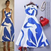 Best Grade New Brand Design Style 2015 Spring Summer Women Blue White Color Block Print Slim Fitted Mid-Calf 100%Silk Dress XL